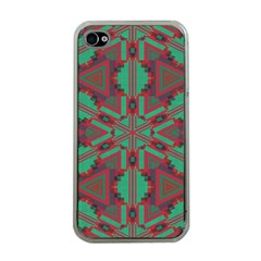 Green Tribal Star Apple Iphone 4 Case (clear) by LalyLauraFLM