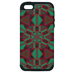 Green Tribal Star Apple Iphone 5 Hardshell Case (pc+silicone) by LalyLauraFLM