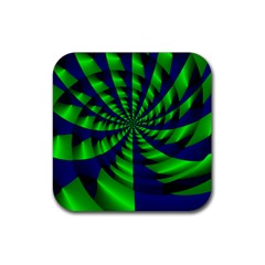 Green Blue Spiral Rubber Coaster (square) by LalyLauraFLM