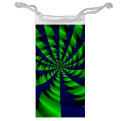 Green Blue Spiral Jewelry Bag by LalyLauraFLM