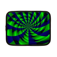 Green Blue Spiral Netbook Case (small) by LalyLauraFLM