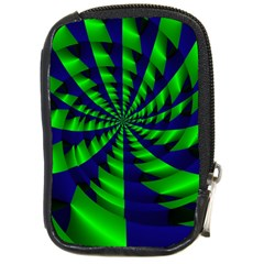 Green Blue Spiral Compact Camera Leather Case by LalyLauraFLM