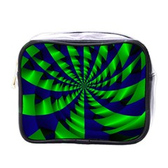 Green Blue Spiral Mini Toiletries Bag (one Side) by LalyLauraFLM