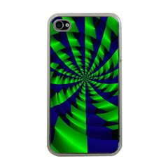 Green Blue Spiral Apple Iphone 4 Case (clear) by LalyLauraFLM