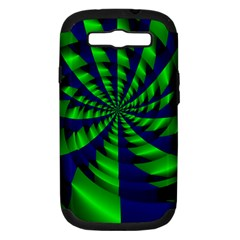 Green Blue Spiral Samsung Galaxy S Iii Hardshell Case (pc+silicone) by LalyLauraFLM