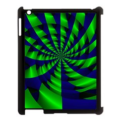 Green Blue Spiral Apple Ipad 3/4 Case (black) by LalyLauraFLM
