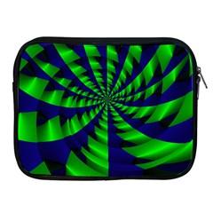 Green Blue Spiral Apple Ipad 2/3/4 Zipper Case by LalyLauraFLM