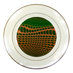 Distorted Rectangles Porcelain Plate by LalyLauraFLM