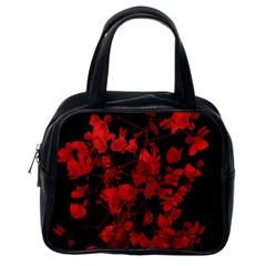 Dark Red Flower Classic Handbag (one Side) by dflcprints