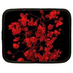 Dark Red Flower Netbook Sleeve (xl) by dflcprints