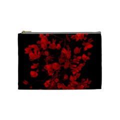 Dark Red Flower Cosmetic Bag (medium) by dflcprints