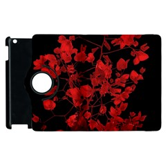 Dark Red Flower Apple Ipad 3/4 Flip 360 Case by dflcprints