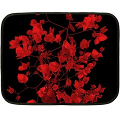 Dark Red Flower Mini Fleece Blanket (two Sided) by dflcprints