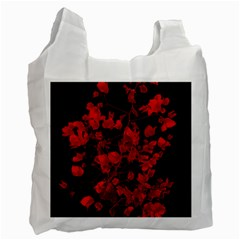 Dark Red Flower White Reusable Bag (one Side) by dflcprints