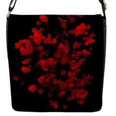 Dark Red Flower Flap Closure Messenger Bag (small) by dflcprints