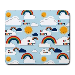 Be Happy Repeat Large Mouse Pad (rectangle) by Kathrinlegg