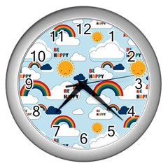 Be Happy Repeat Wall Clock (silver) by Kathrinlegg