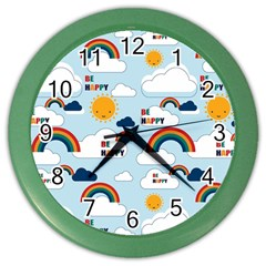 Be Happy Repeat Wall Clock (color) by Kathrinlegg