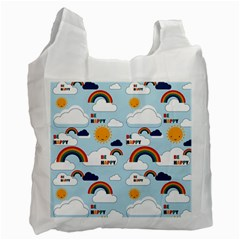 Be Happy Repeat White Reusable Bag (two Sides) by Kathrinlegg