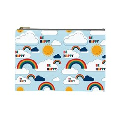 Be Happy Repeat Cosmetic Bag (large) by Kathrinlegg