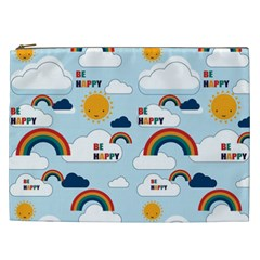 Be Happy Repeat Cosmetic Bag (xxl) by Kathrinlegg