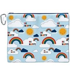 Be Happy Repeat Canvas Cosmetic Bag (xxxl) by Kathrinlegg