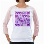 Purple Awareness Butterflies Women s Long Cap Sleeve T-Shirt (White)