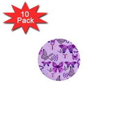 Purple Awareness Butterflies 1  Mini Button (10 Pack) by FunWithFibro