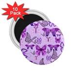 Purple Awareness Butterflies 2.25  Button Magnet (10 pack)