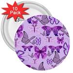 Purple Awareness Butterflies 3  Button (10 pack)