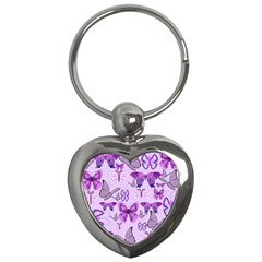 Purple Awareness Butterflies Key Chain (heart) by FunWithFibro