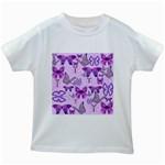 Purple Awareness Butterflies Kids T-shirt (White)