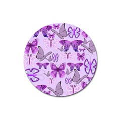 Purple Awareness Butterflies Magnet 3  (round) by FunWithFibro