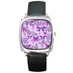 Purple Awareness Butterflies Square Leather Watch