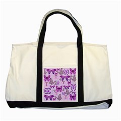 Purple Awareness Butterflies Two Toned Tote Bag by FunWithFibro