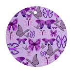 Purple Awareness Butterflies Round Ornament (Two Sides)