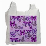 Purple Awareness Butterflies White Reusable Bag (Two Sides)