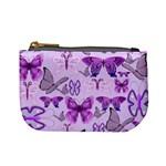 Purple Awareness Butterflies Coin Change Purse
