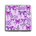Purple Awareness Butterflies Memory Card Reader with Storage (Square)
