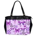 Purple Awareness Butterflies Oversize Office Handbag (Two Sides)