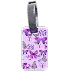 Purple Awareness Butterflies Luggage Tag (two Sides) by FunWithFibro