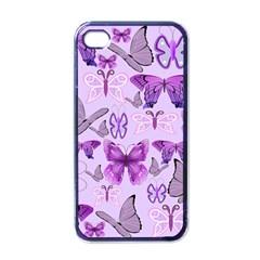 Purple Awareness Butterflies Apple Iphone 4 Case (black) by FunWithFibro