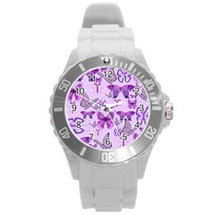 Purple Awareness Butterflies Plastic Sport Watch (large) by FunWithFibro