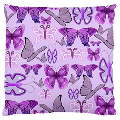 Purple Awareness Butterflies Large Cushion Case (two Sided)  by FunWithFibro