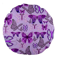 Purple Awareness Butterflies Large 18  Premium Round Cushion  by FunWithFibro