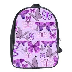 Purple Awareness Butterflies School Bag (xl) by FunWithFibro