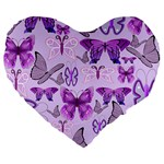 Purple Awareness Butterflies Large 19  Premium Heart Shape Cushion
