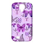 Purple Awareness Butterflies Samsung Galaxy S4 Classic Hardshell Case (PC+Silicone)