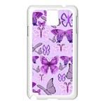 Purple Awareness Butterflies Samsung Galaxy Note 3 N9005 Case (White)
