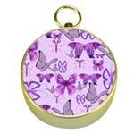 Purple Awareness Butterflies Gold Compass